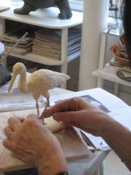 sculpture cigogne