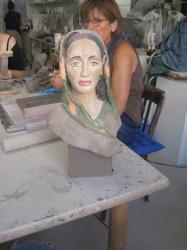 buste de femme engobee, sculpture